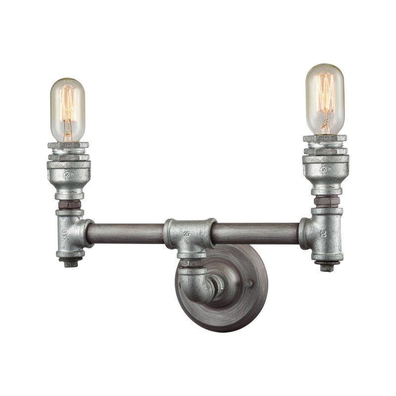 ELK Lighting Cast Iron Pipe 2 Light Vanity In Weathered Zinc (10683/2)