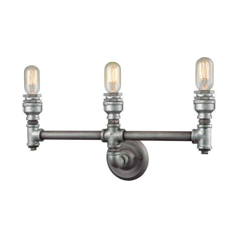 ELK Lighting Cast Iron Pipe 3 Light Vanity In Weathered Zinc (10684/3)