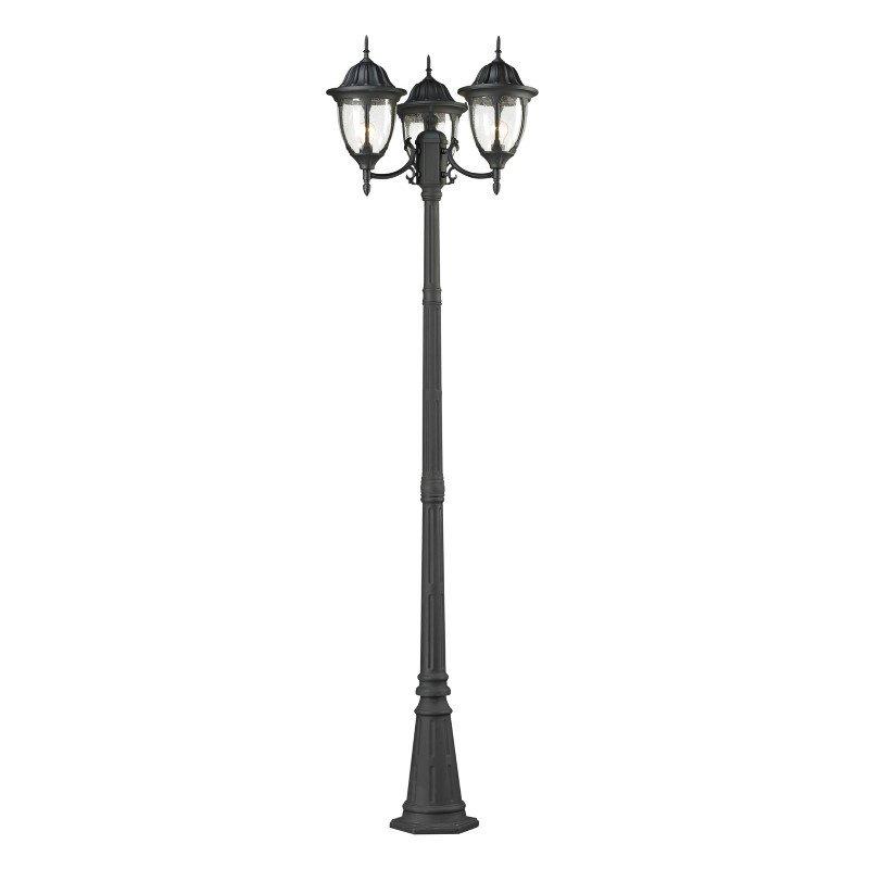ELK Lighting Central Square 3 Light Outdoor Post Lamp In Textured Matte Black (45089/3)