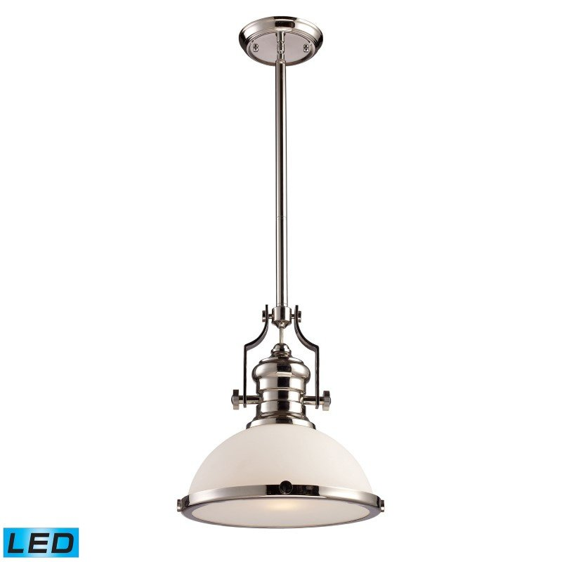 ELK Lighting Chadwick 1 Light LED Pendant In Polished Nickel With White Glass (66113-1-LED)