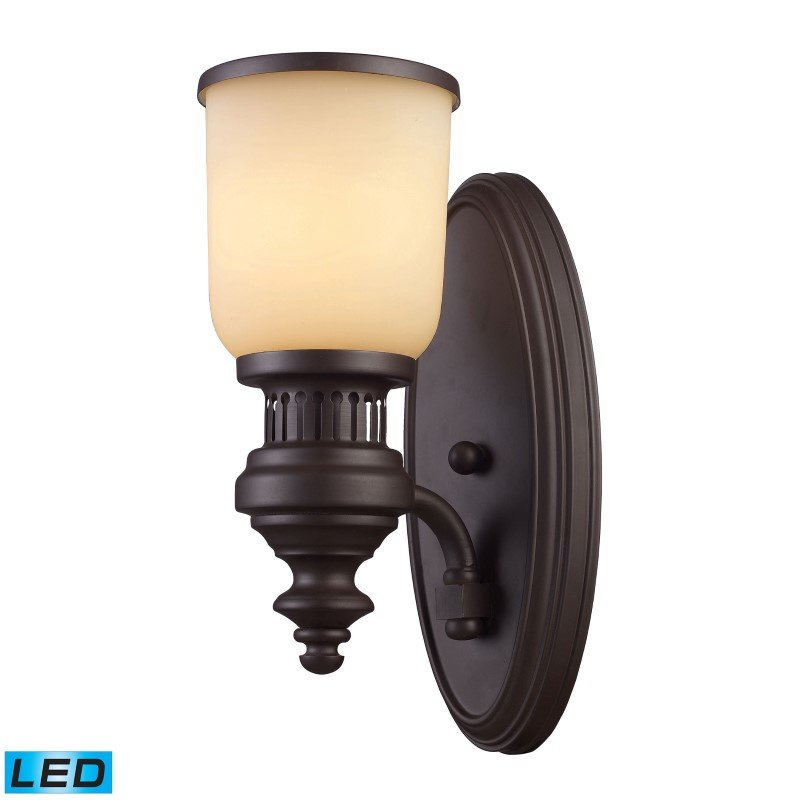 ELK Lighting Chadwick 1 Light LED Wall Sconce In Oiled Bronze And Amber Glass (66130-1-LED)