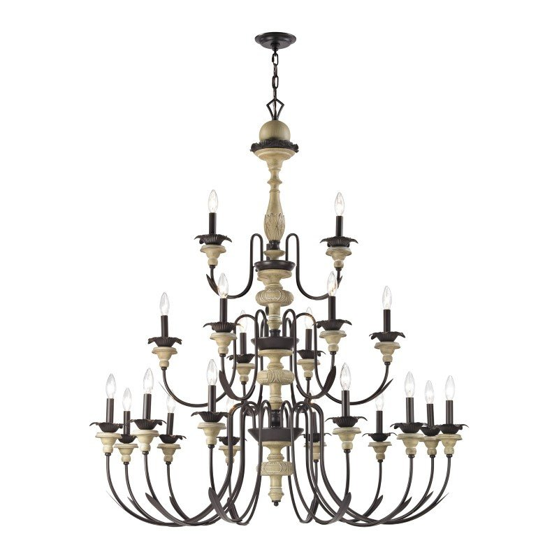 ELK Lighting Channery Point 21 Light Chandelier In Aged Cream And Oil Rubbed Bronze (32222/12+6+3)