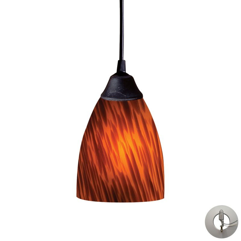 ELK Lighting Classico 1 Light Pendant In Dark Rust And Espresso Glass - Includes Recessed Lighting Kit (406-1ES-LA)