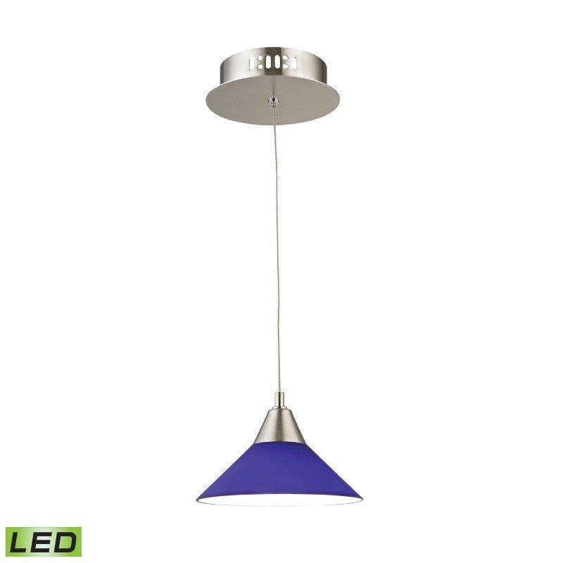 ELK Lighting Cono 1 Light LED Pendant In Satin Nickel with Blue Glass (LCA101-7-16M)