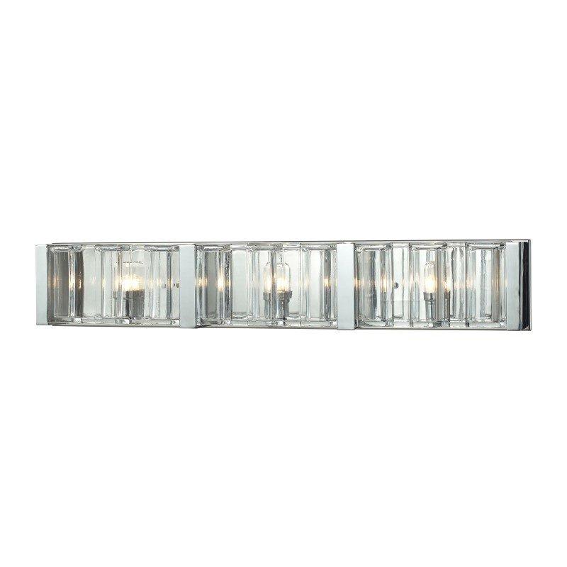 ELK Lighting Corrugated Glass 3 Light Vanity In Polished Chrome (11517/3)