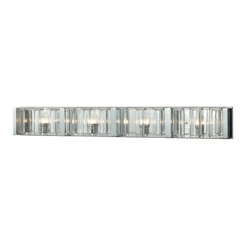 ELK Lighting Corrugated Glass 4 Light Vanity In Polished Chrome (11518/4)