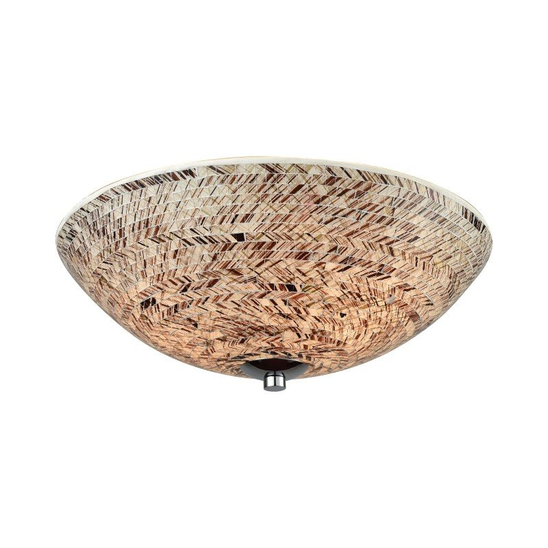 ELK Lighting Crosshatch 3 Light Flush in Polished Chrome with Painted Crosshatch Mosaic Glass (10730/3)