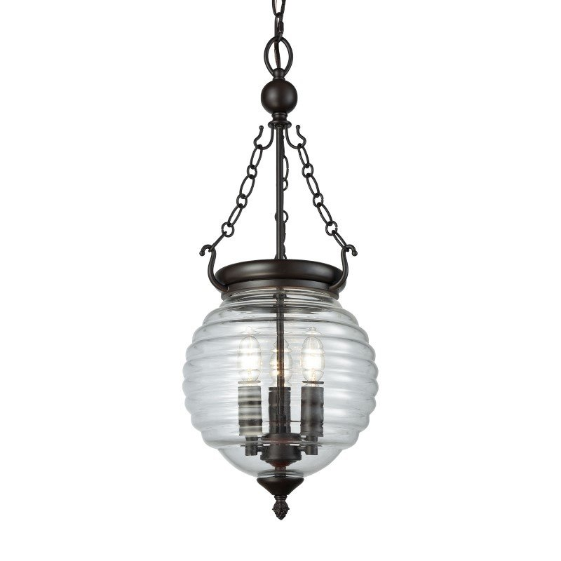 ELK Lighting Crosswell 3 Light Chandelier in Oil Rubbed Bronze with Clear Beehive Glass (56540/3)