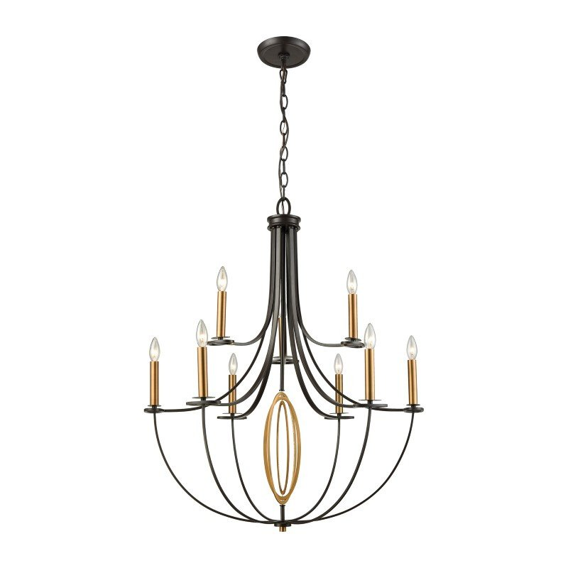 ELK Lighting Dione 9 Light Chandelier in Oil Rubbed Bronze with Brushed Antique Brass Accents (10516/6+3)