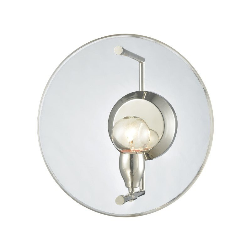 ELK Lighting Disco 1 Light Wall Sconce in Polished Nickel with Clear Acrylic Panel (32320/1)