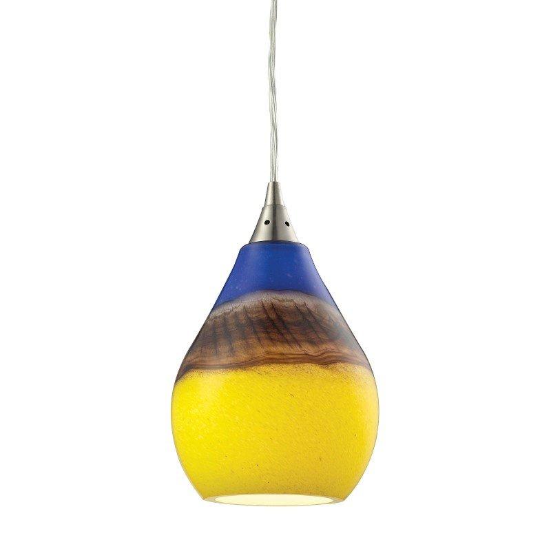 ELK Lighting Dunes 1 Light Pendant In Satin Nickel And Sunscape Glass (31616/1)