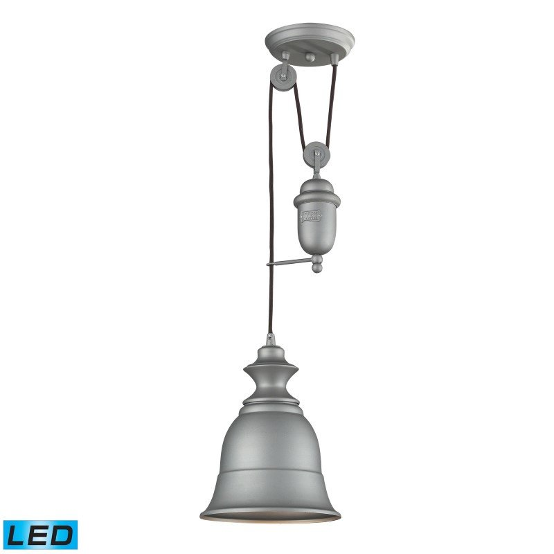 ELK Lighting Farmhouse 1 Light Adjustable LED Pendant In Aged Pewter (65080-1-LED)