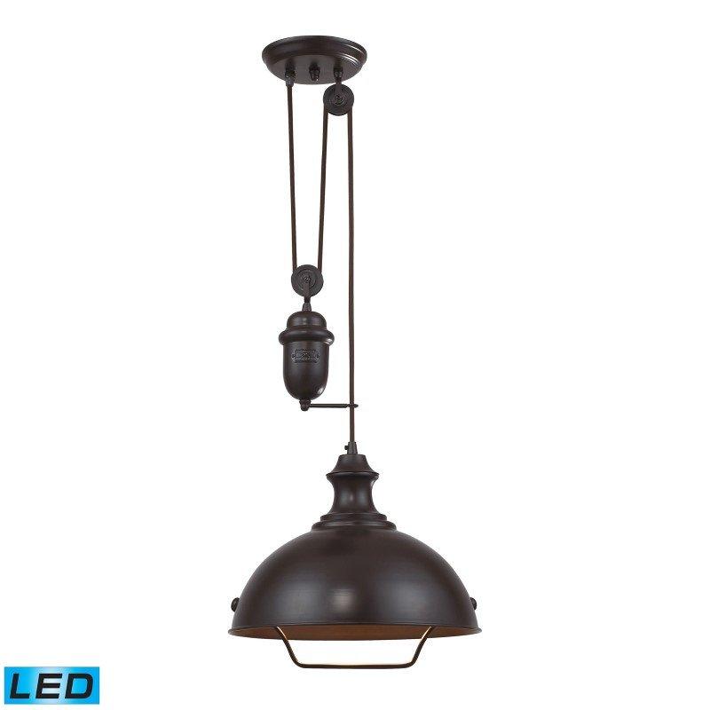 ELK Lighting Farmhouse 1 Light Adjustable LED Pendant In Oiled Bronze (65071-1-LED)