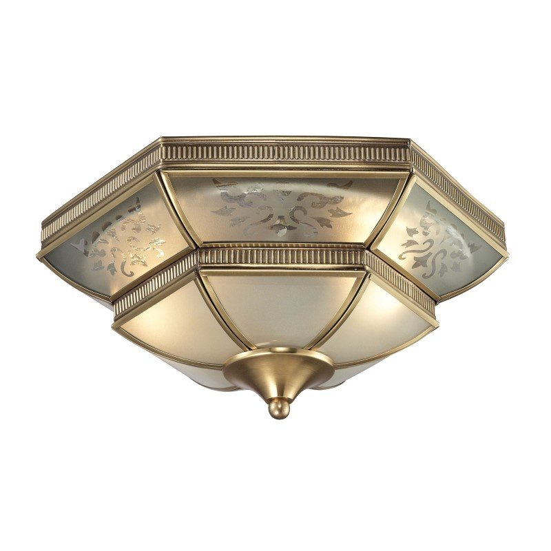 ELK Lighting French Damask 2 Light Flushmount In Brushed Brass (22005/2)