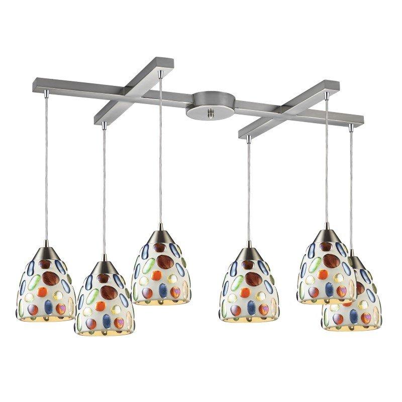 ELK Lighting Gemstones 6 Light Pendant In Satin Nickel And Sculpted Multicolor Glass (542-6)