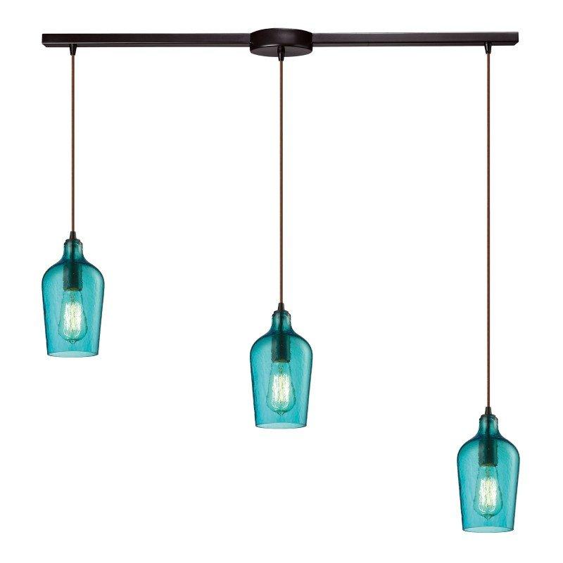 ELK Lighting Hammered Glass 3 Light Pendant In Oil Rubbed Bronze And Aqua Glass (10331/3L-HAQ)