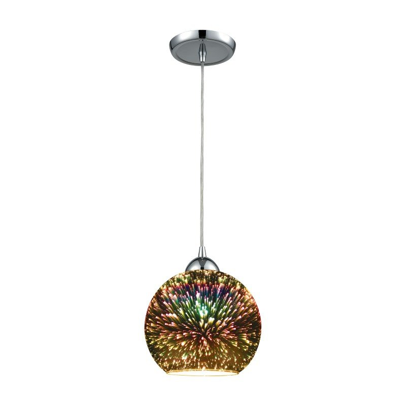 ELK Lighting Illusions 1 Light Pendant in Polished Chrome with 3-D Starburst Glass - Includes Recessed Lighting Kit (10517/1-LA)