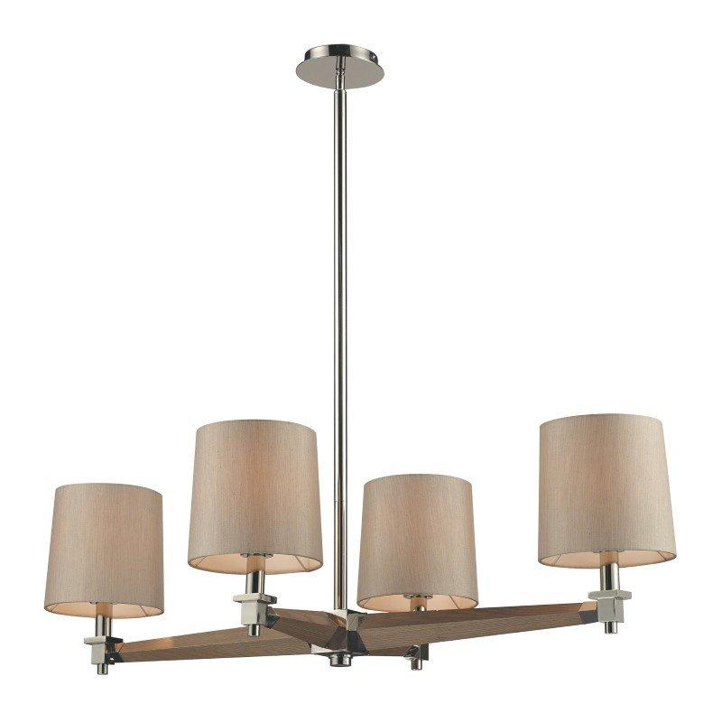 ELK Lighting Jorgenson 4 Light Chandelier In Polished Nickel And Taupe Wood (31336/4)