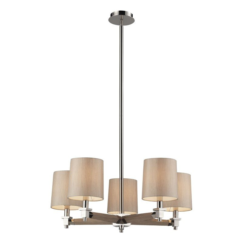 ELK Lighting Jorgenson 5 Light Chandelier In Polished Nickel And Taupe Wood (31337/5)
