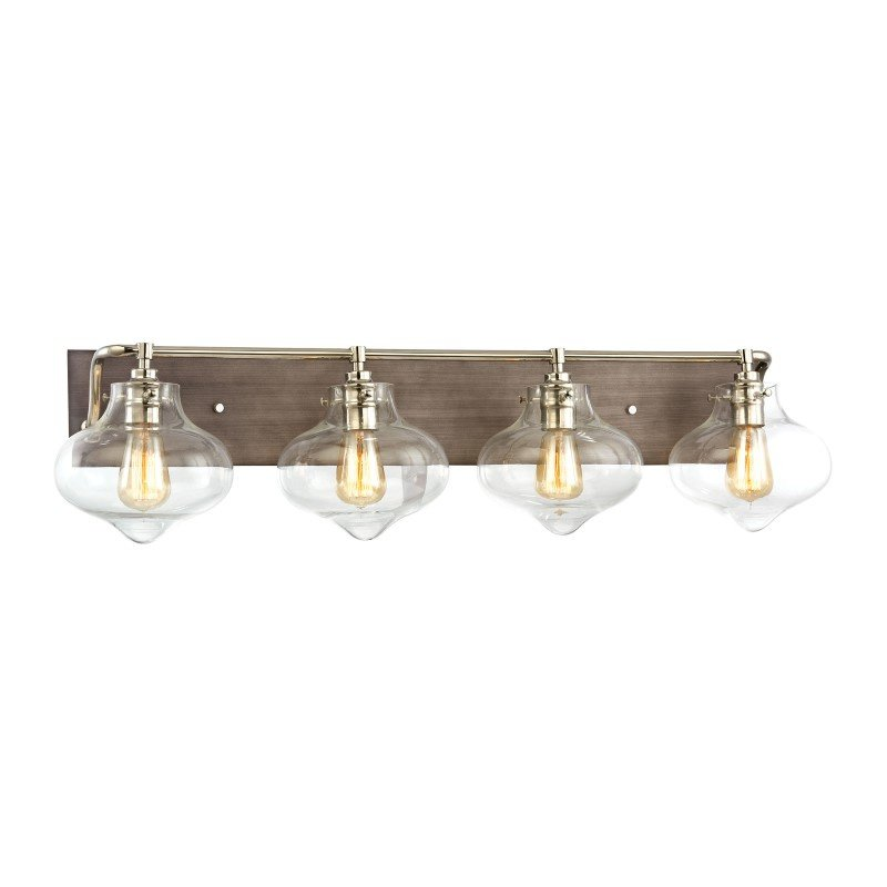 ELK Lighting Kelsey 4 Light Vanity In Weathered Zinc With Polished Nickel Accents (31943/4)