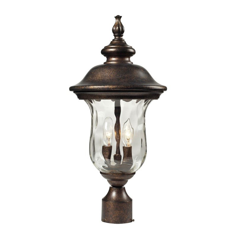 ELK Lighting Lafayette 2 Light Outdoor Post Lamp In Regal Bronze And Water Glass (45023/2)