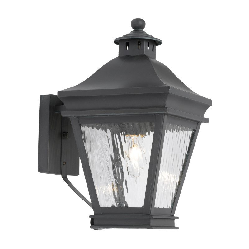 ELK Lighting Landings Outdoor Wall Lantern In Charcoal And Water Glass (5720-C)