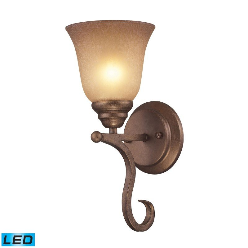 ELK Lighting Lawrenceville 1 Light LED Wall Sconce In Mocha With Antique Amber Glass (9320/1-LED)