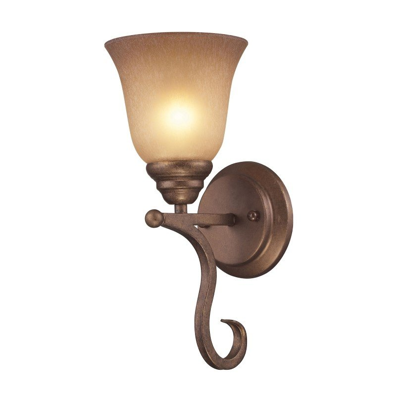 ELK Lighting Lawrenceville 1 Light Wall Sconce In Mocha With Antique Amber Glass (9320/1)