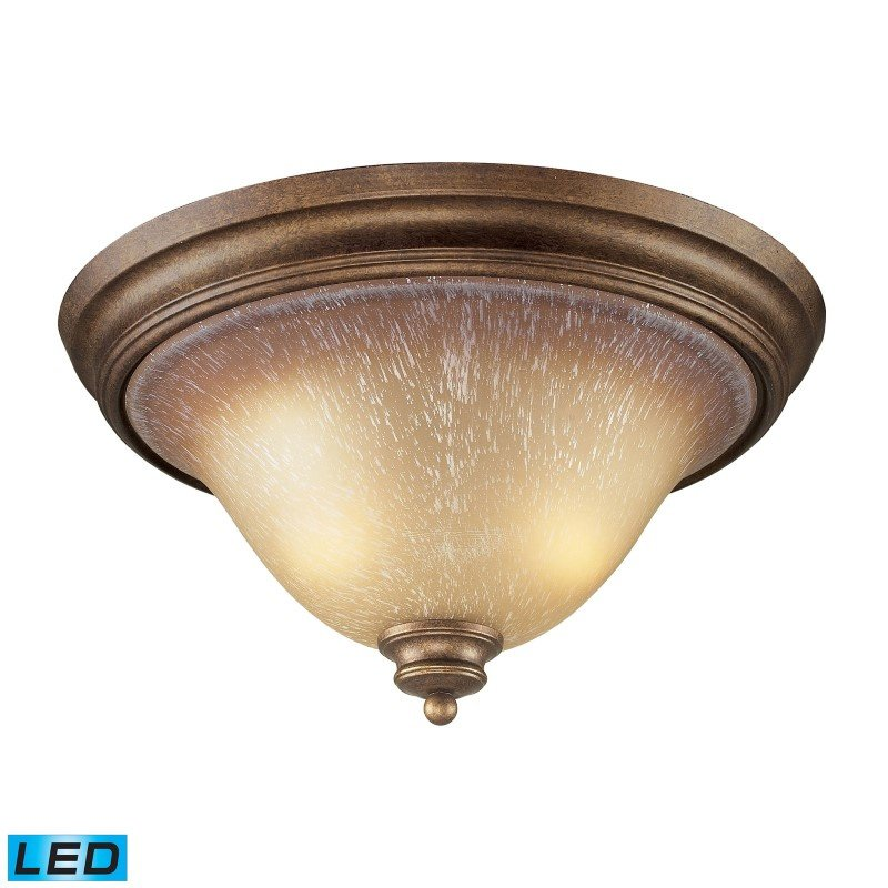 ELK Lighting Lawrenceville 2 Light LED Flushmount In Mocha And Antique Amber Glass (9319/2-LED)