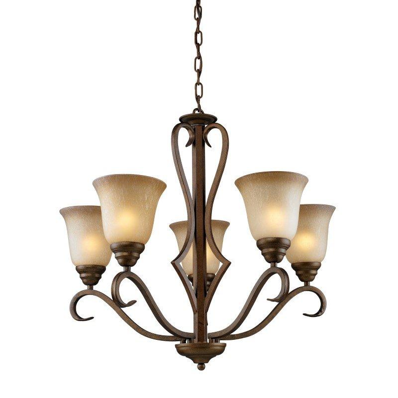 ELK Lighting Lawrenceville 5 Light Chandelier In Mocha With Antique Amber Glass (9328/5)