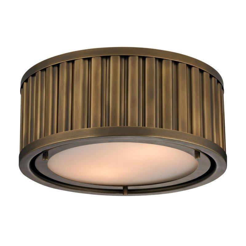 ELK Lighting Linden Manor 2 Light Flushmount In Aged Brass (46120/2)