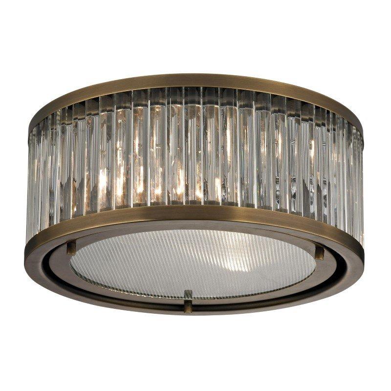 ELK Lighting Linden Manor 2 Light Flushmount In Crystal And Aged Brass (46122/2)
