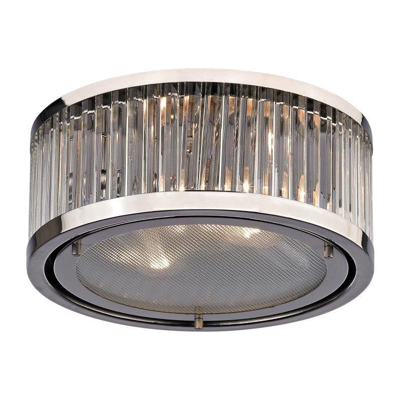 ELK Lighting Linden Manor 2 Light Flushmount In Crystal And Polished Nickel (46102/2)
