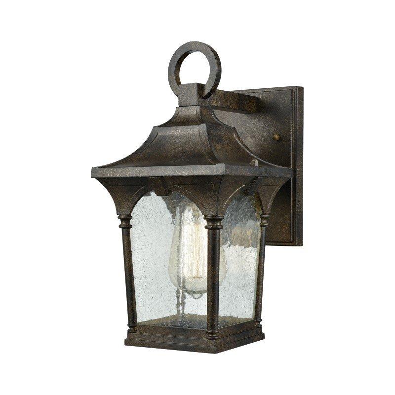 ELK Lighting Loringdale 1 Light Outdoor Wall Sconce in Hazelnut Bronze with Clear Seedy Glass (45045/1)
