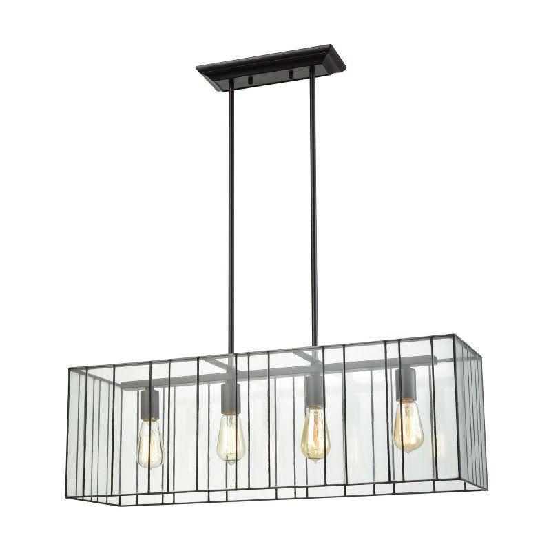 ELK Lighting Lucian 4 Light Chandelier in Oil Rubbed Bronze with Clear Glass (72196/4)