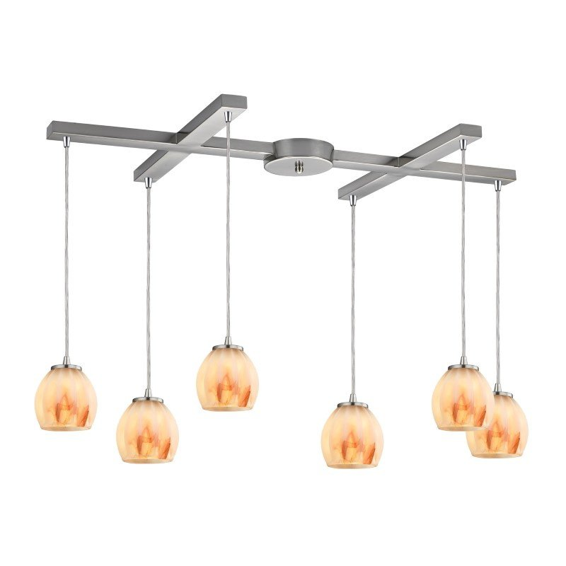 ELK Lighting Melony 6 Light Pendant In Satin Nickel And Frosted Glass (10421/6TS)