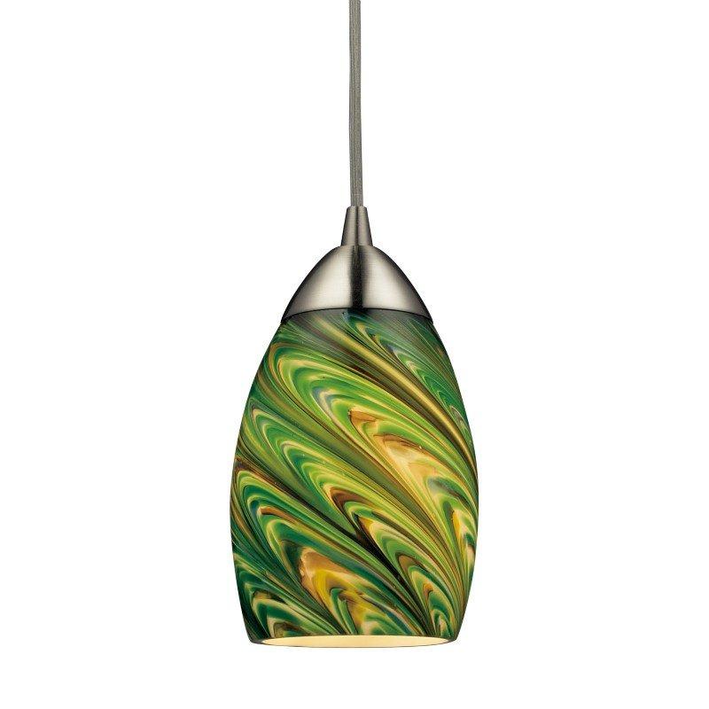 ELK Lighting Mini Vortex 1 Light Pendant In Satin Nickel And Evergreen Glass (10089/1EVG)