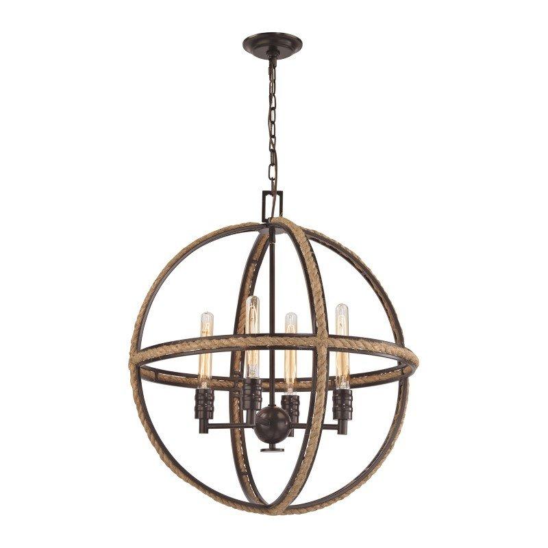 ELK Lighting Natural Rope 4 Light Chandelier In Oil Rubbed Bronze (63065-4)