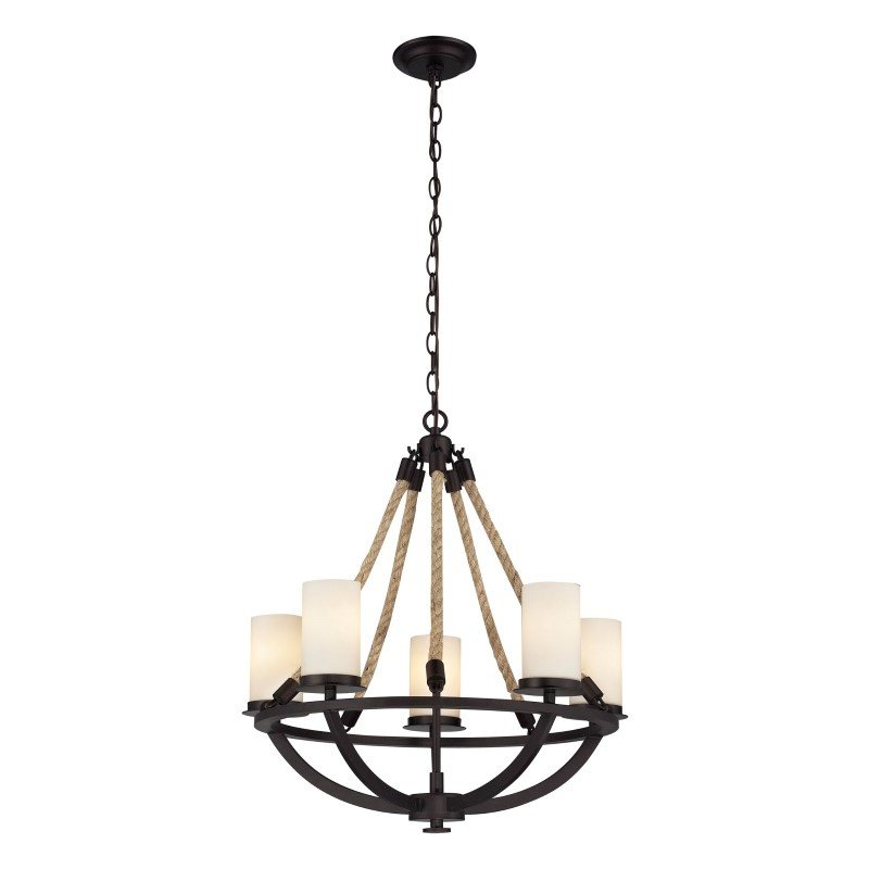 ELK Lighting Natural Rope 5 Light Chandelier In Aged Bronze And White Glass (63041-5)