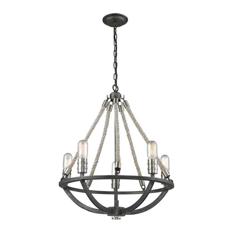 ELK Lighting Natural Rope 5 Light Chandelier In Silvered Graphite With Polished Nickel Accents (63056-5)