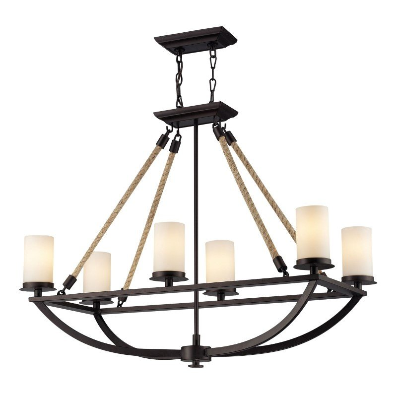 ELK Lighting Natural Rope 6 Light Chandelier In Aged Bronze And White Glass (63018-6)