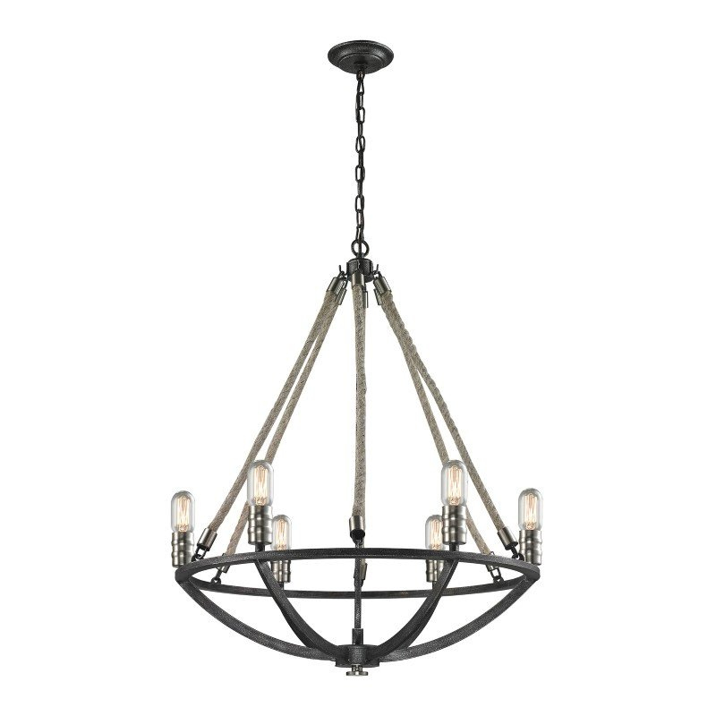 ELK Lighting Natural Rope 6 Light Chandelier In Silvered Graphite With Polished Nickel Accents (63057-6)