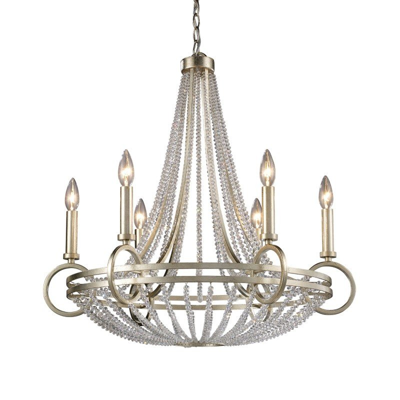ELK Lighting New York 6 Light Chandelier In Renaissance Silver Leaf (31014/6)