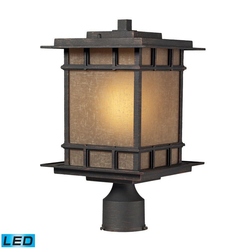 ELK Lighting Newlton 1 Light Outdoor LED Post Lamp In Weathered Charcoal (45014/1-LED)