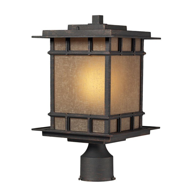 ELK Lighting Newlton 1 Light Outdoor Post Lamp In Weathered Charcoal (45014/1)