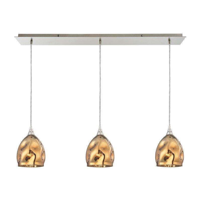 ELK Lighting Niche 3 Light Pendant In Satin Nickel And Polished Gold Glass (31597/3LP)