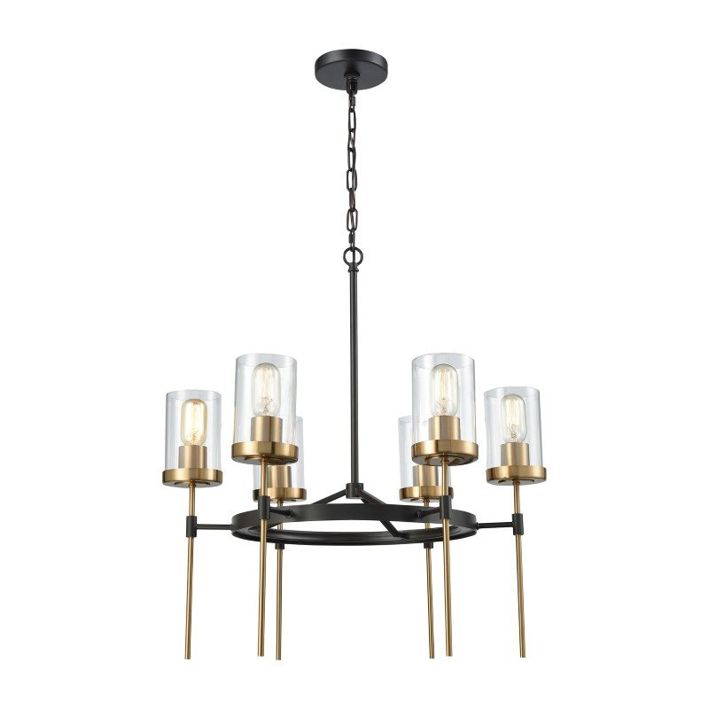 ELK Lighting North Haven 6 Light Chandelier in Oil Rubbed Bronze with Satin Brass Accents And Clear Glass (14553/6)