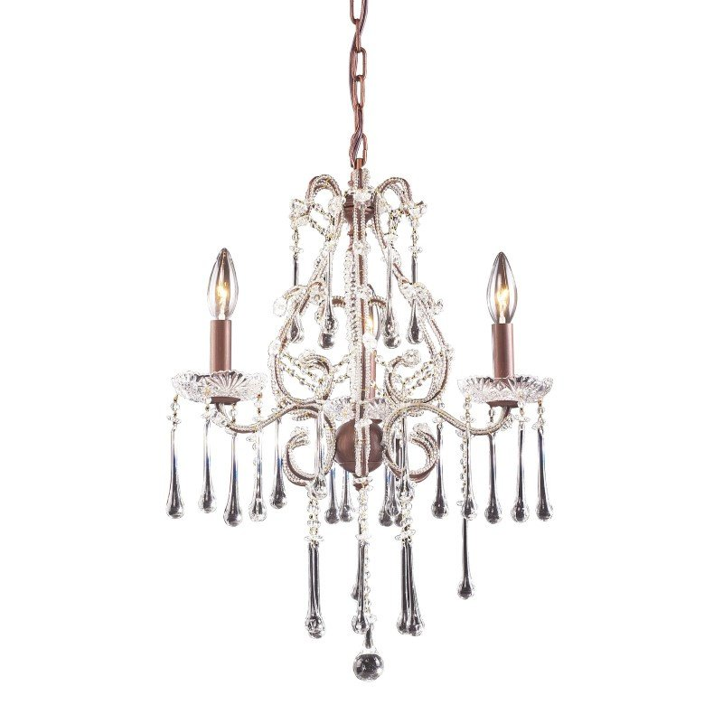 ELK Lighting Opulence 3 Light Chandelier In Rust And Clear Crystal (4011/3CL)