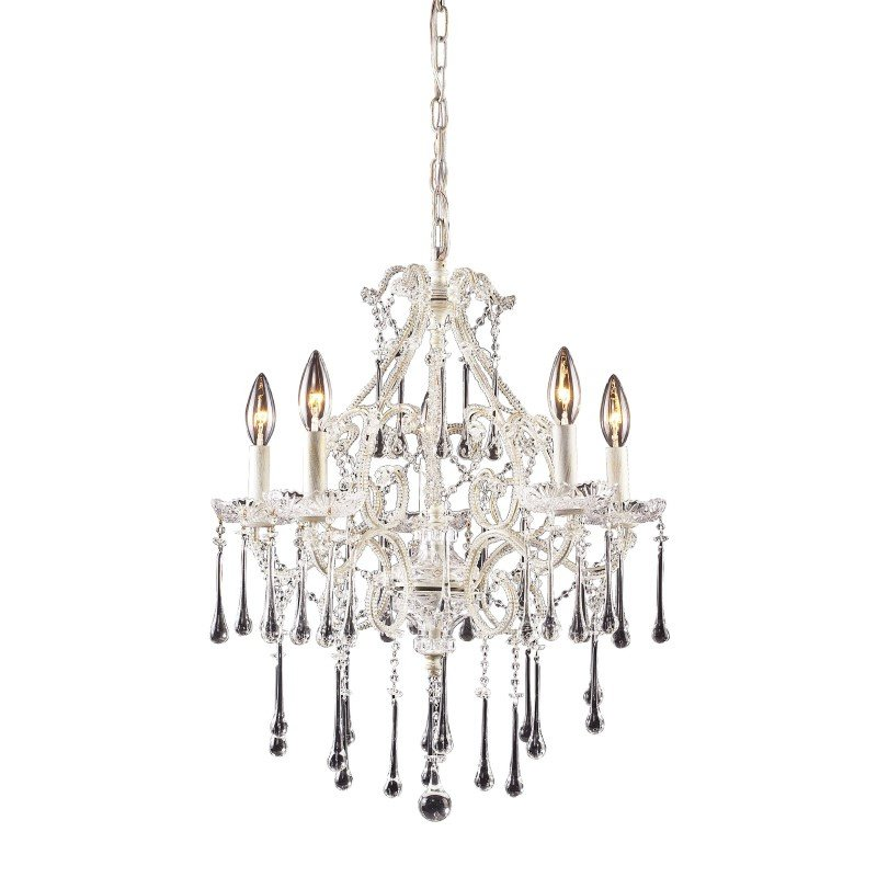 ELK Lighting Opulence 5 Light Chandelier In Antique White And Clear Crystal (4002/5CL)