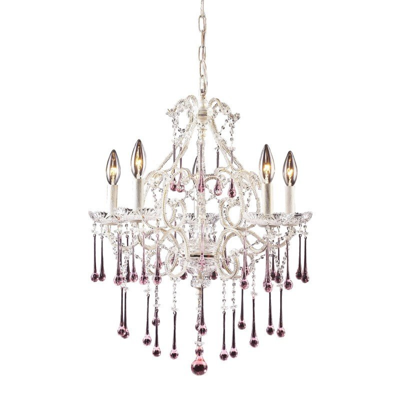 ELK Lighting Opulence 5 Light Chandelier In Antique White And Rose Crystal (4002/5RS)